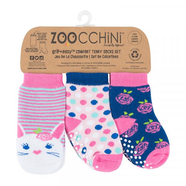 Zoocchini GRIP+EASY™ Καλτσάκια Μπέλα το Κουνελάκι (3 τεμ) 0+ έως 2 ετών ZOO11806