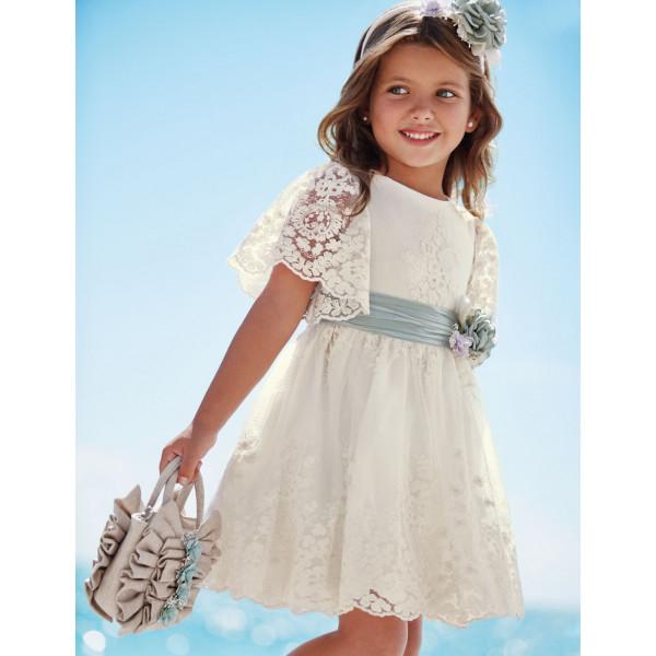 Abel & Lula Φόρεμα Τούλι Κεντητό Κρεμ 21-05024-001