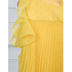 Abel & Lula Φόρεμα Γάζα Πλουμετί Πλισέ Κίτρινο 21-05036-060