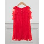 Abel & Lula Φόρεμα Γάζα Πλουμετί Πλισέ Κόκκινο 21-05036-062