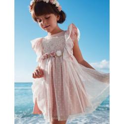 Abel & Lula Φόρεμα Τούλι Κεντητό Πουά με Λουλούδια Ροζ Απαλό 21-05013-034