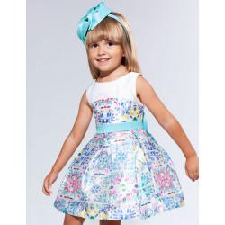 Abel & Lula Φόρεμα Shantung Σταμπωτό με Φιόγκο Τυρκουάζ 21-05030-052