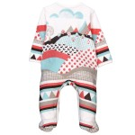 Boboli Interlock play suit for baby boy off white