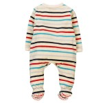 Boboli Velour play suit striped for baby stripes
