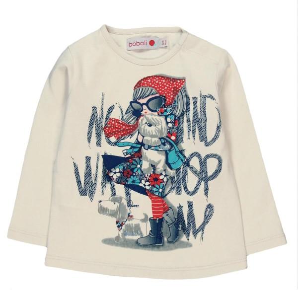 Boboli Knit t-Shirt for baby girl ecru