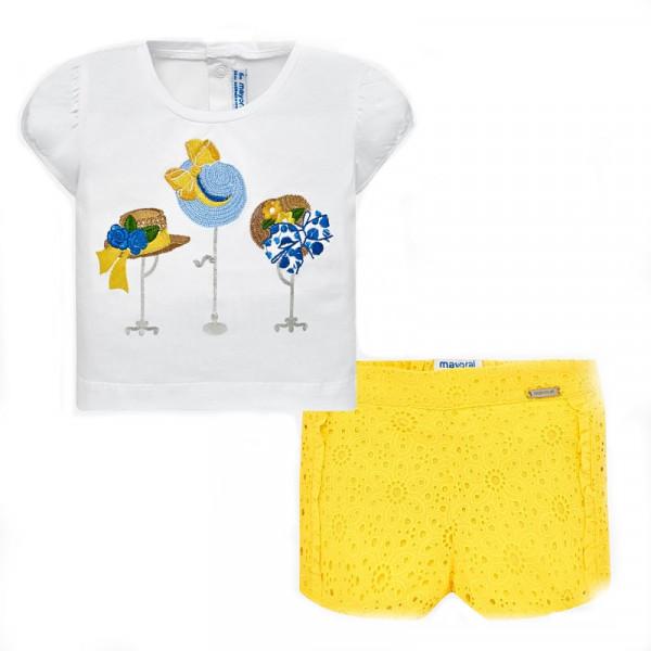 Mayoral Σετ μπλούζα και βερμούδα διάτρητη baby κορίτσι Κίτρινο 29-01236-045