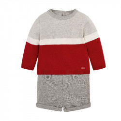 Mayoral Σετ παντελόνι κοντό και ζέρσεϋ για μωρό αγόρι Γκρι Σκούρο  18-02206-025 d70edde3254
