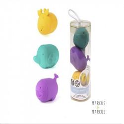 Marcus & Marcus Παιχνίδια Μπάνιου σιλικόνης Σετ 3 τμχ. Κίτρινο - Τιρκουάζ - Μωβ