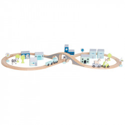 Jabadabado Ξύλινη πολιτεία με κτίρια, αυτοκινητάκια και ζωάκια Μπλε JB-W7141