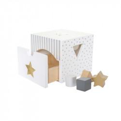 Jabadabado Ξύλινο κουτί με σχήματα ασημί JB-W7155